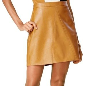 BAR III Faux Leather Camel ALine Mini Skirt (xs)